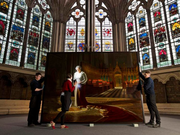 An Official Portrait Of Her Majesty The Queen Installed at Westminster Abbey