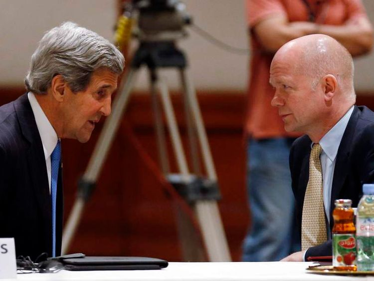 William Hague And John Kerry during a Friends of Syria meeting in Jordan in May.