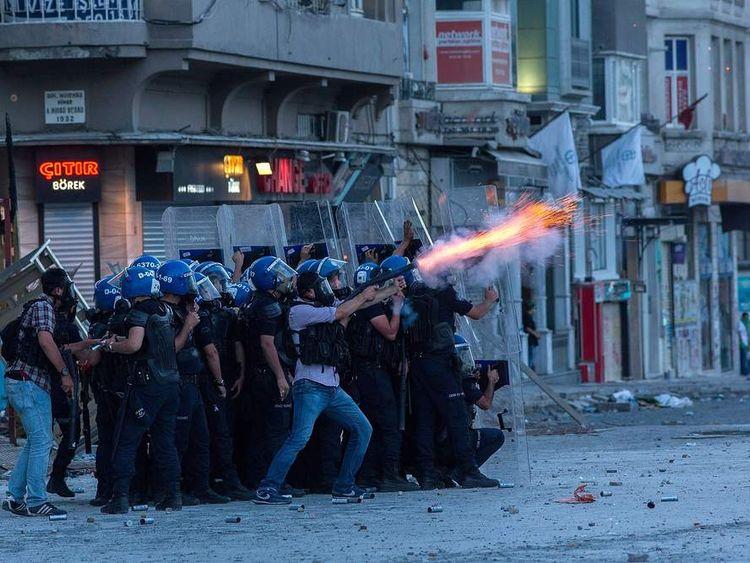 Protests in Taksim Square in Istanbul, Turkey