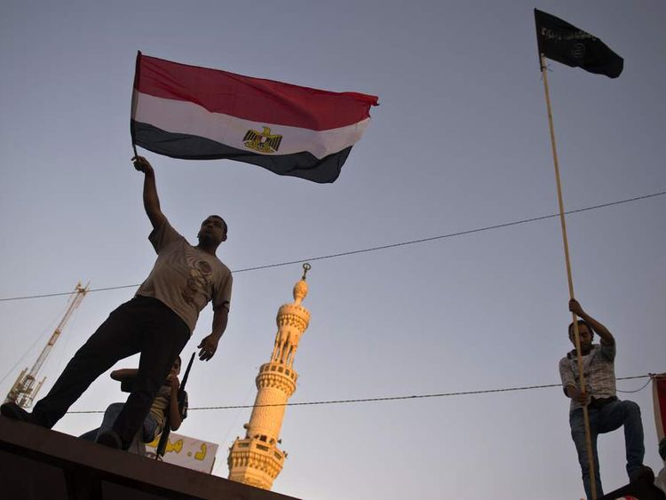 A supporter of Egyptian president Mohamed Morsi and the Muslim Brotherhood in Cairo