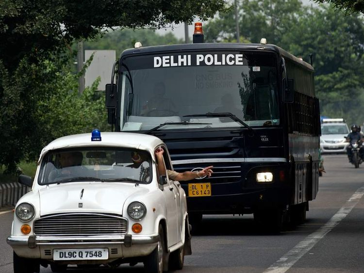 Four men accused of a gang rape in Delhi arrive at court