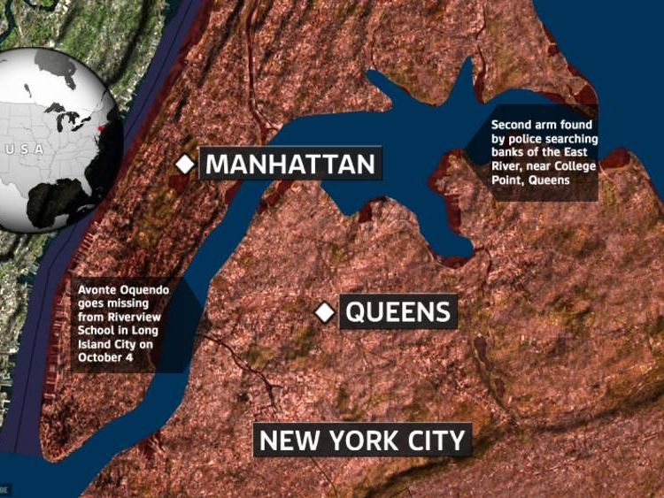 A map showing where Avonte went missing and body parts have been found