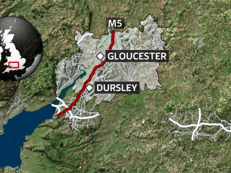 Coach crash on M5 motorway near Dursley