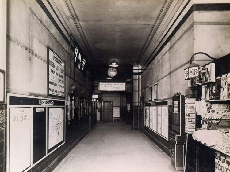 The booking hall and W H Smith bookstall at Brompton Road London Underground station in 1930