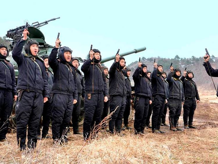 North Korean soldiers attend military drills in this picture released by the North's official KCNA news agency in Pyongyang