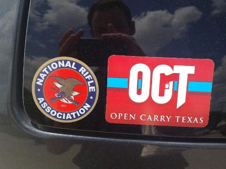 NRA and Open Carry Texas stickers. Pic: Pliney Gale, Open Carry Texas