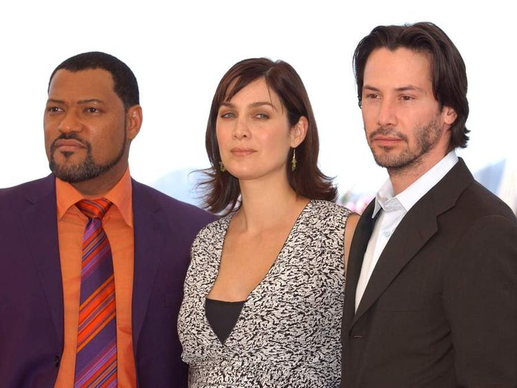 Laurence Fishburne, Carrie-Anne Moss and Keanu Reeves