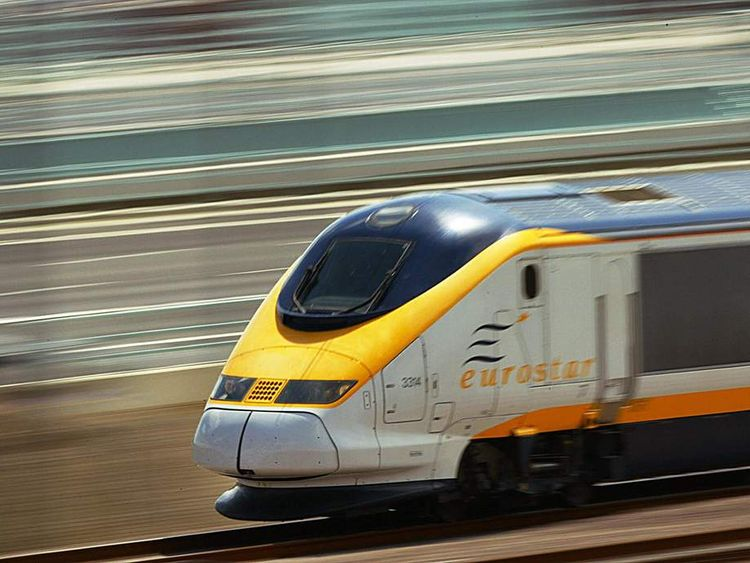 The Eurostar train speeds along a new se