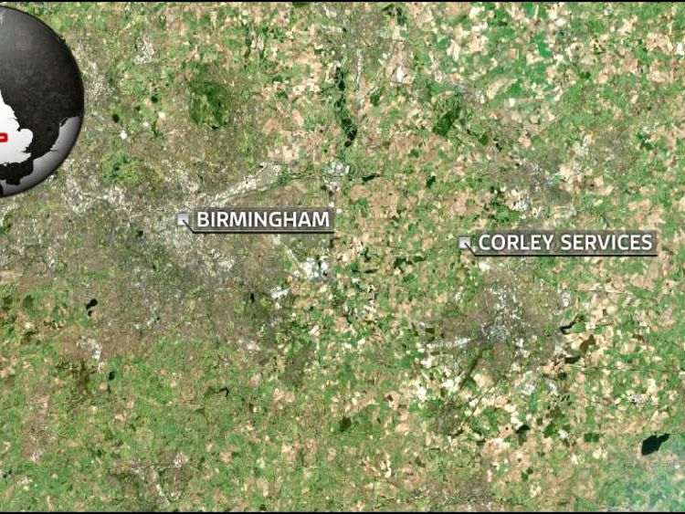 Map showing Corely services near Birmingham