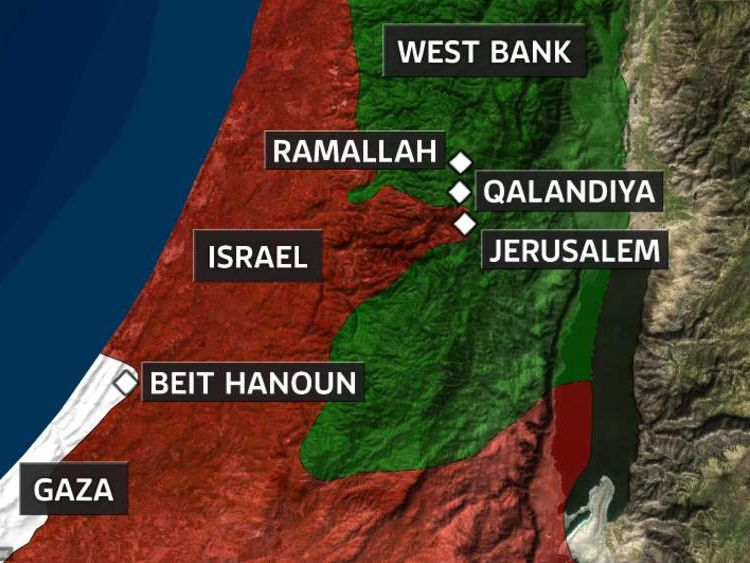 A map showing Israel, Gaza and the West Bank
