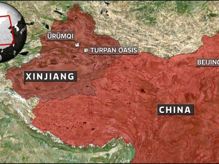 A map showing the location of the Turpan Oasis in Xinjiang