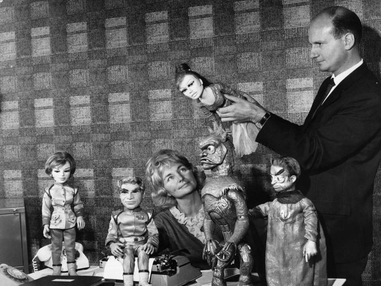"Gerry Anderson and his then-wife Sylvia with some of the ""cast"" from Stingray"