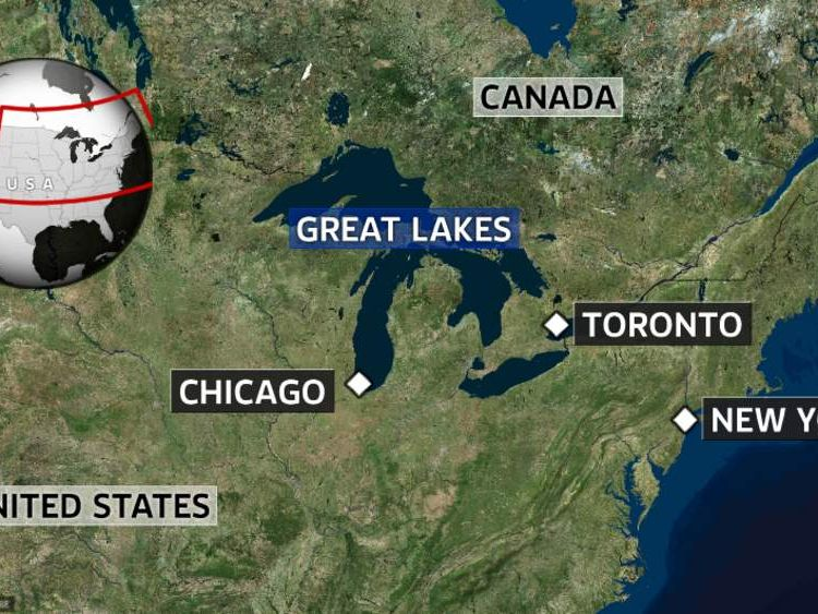 A map showing the location of the Great Lakes in North America