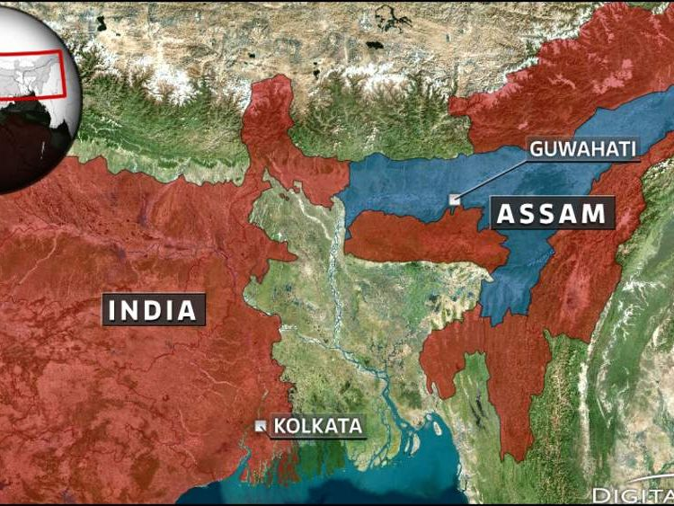 Map of Assam, India