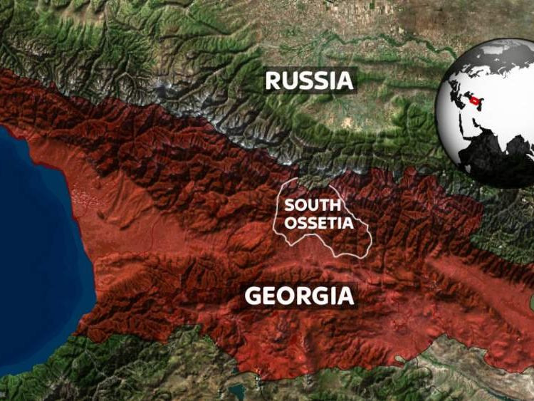 Georgia and South Ossetia (borders approximate and disputed)