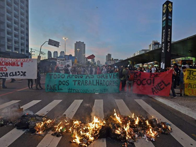 Protests by Metro workers in Sao Paulo