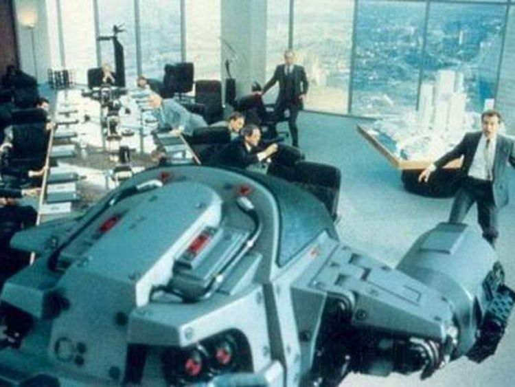 ED-209 malfunctions and opens fire on OCP executive Mr Kinney