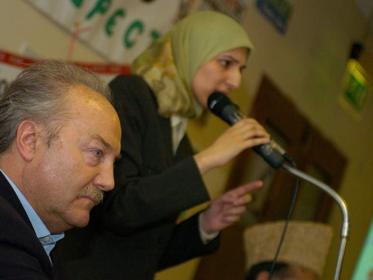 George Galloway and Salma Yaqoob at respect meeting Birmingham. Courtesy of Richard Edkins 02/04/2005