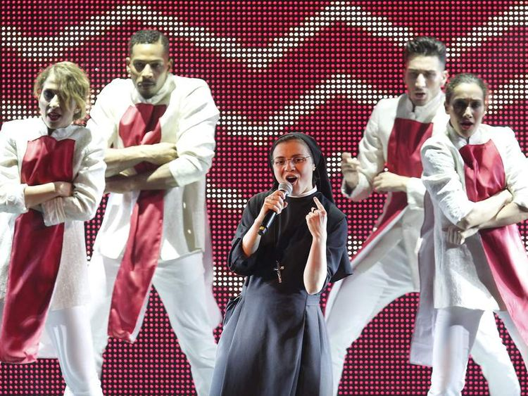 Sister Cristina Scuccia performs during The Voice