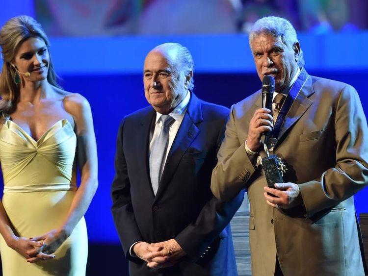 Sepp Blatter and Fernanda Lima at Fifa's annual congress
