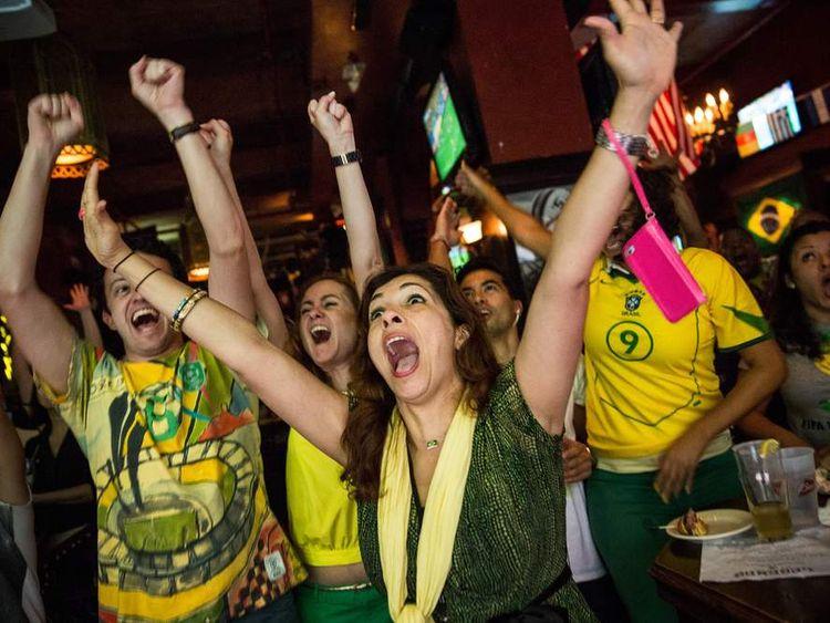 Brazil Fans Celebrate Win Over Croatia