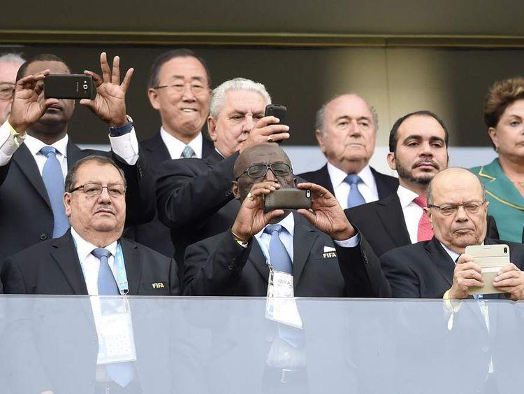 UN Secretary General Ban Ki Moon, FIFA President Sepp Blatter and Brazilian President Dilma Rousseff