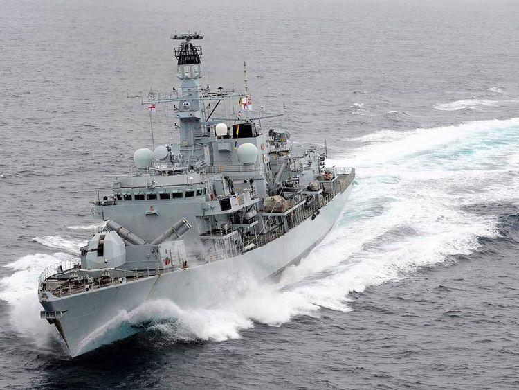 HMS Montrose in the Mediterranean Sea