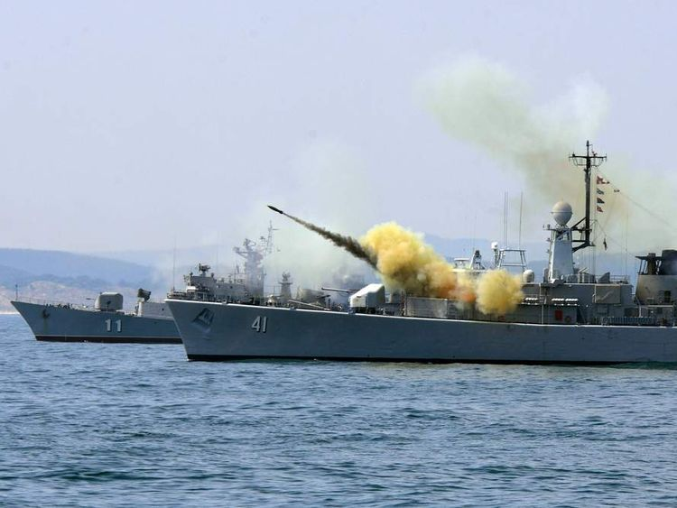 "An anti-submarine rocket blasts off a rocket launcher from the Bulgarian navy frigate ""Drazki"" during the BREEZE 2014 military drill in the Black Sea with fellow Nato members."