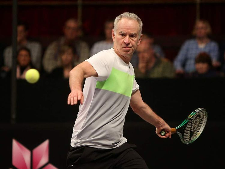 John McEnroe looks to play a forehand during the singles final match between John McEnroe of America and Mats Wilander of Sweden on Day Five of the Statoil Masters Tennis at the Royal Albert Hall.