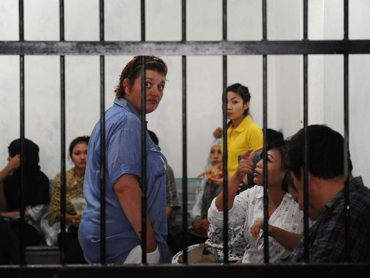 Andrea Waldeck in a cell in Indonesia