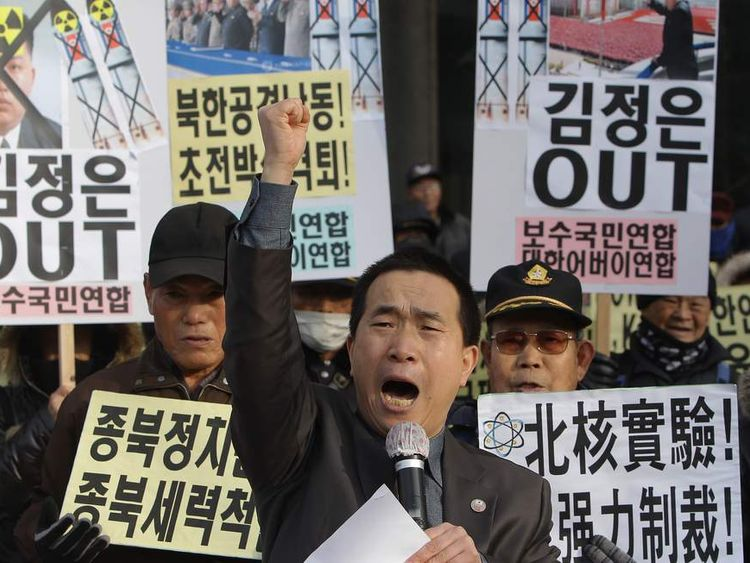 Protesters in neighbouring South Korea protest the leadership of Kim Jong-Un on January 8, his 31st birthday.