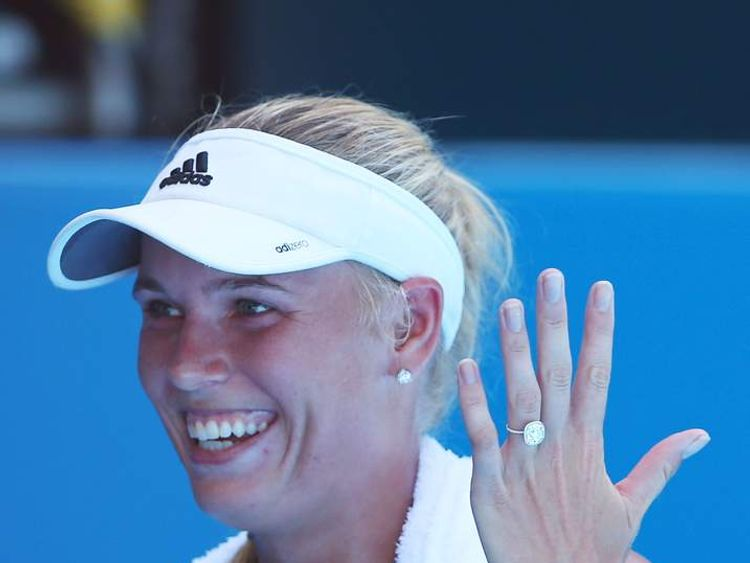 Caroline Wozniacki shows off her engagement ring.