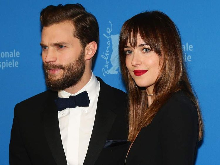 Jamie Dornan and Dakota Johnson attend the 'Fifty Shades of Grey' premiere.