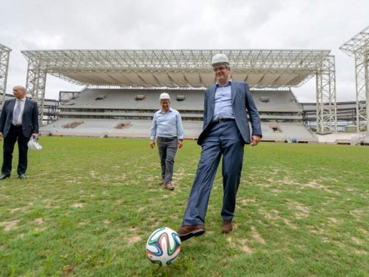 Jerome Valcke checks on preparations for the World Cup in Brazil