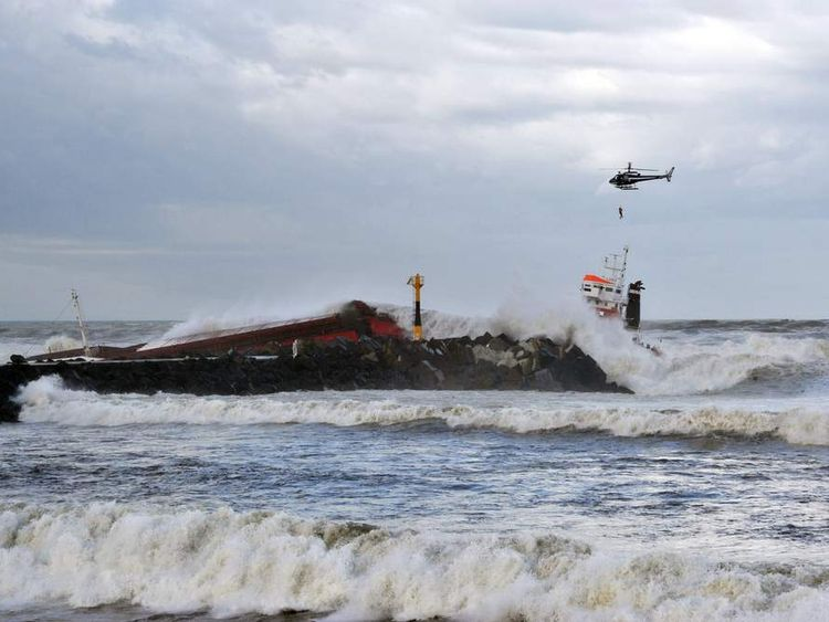 FRANCE Spanish Cargo Ship Splits In Two Off Anglet