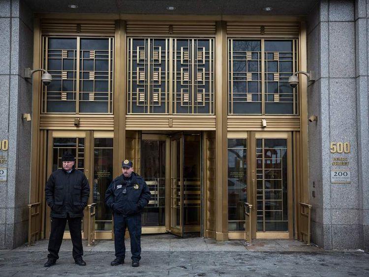 Police outside Manhattan court