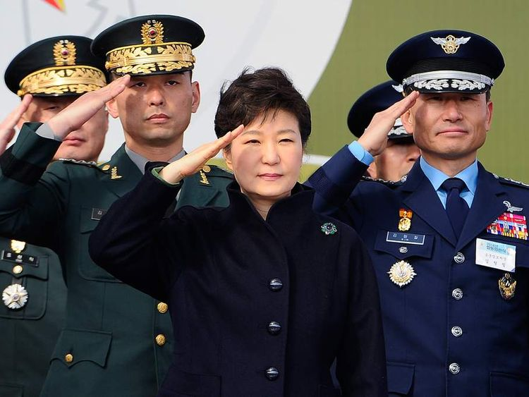 South Korean President Park Geun-Hye speaks during a military commissioning ceremony.