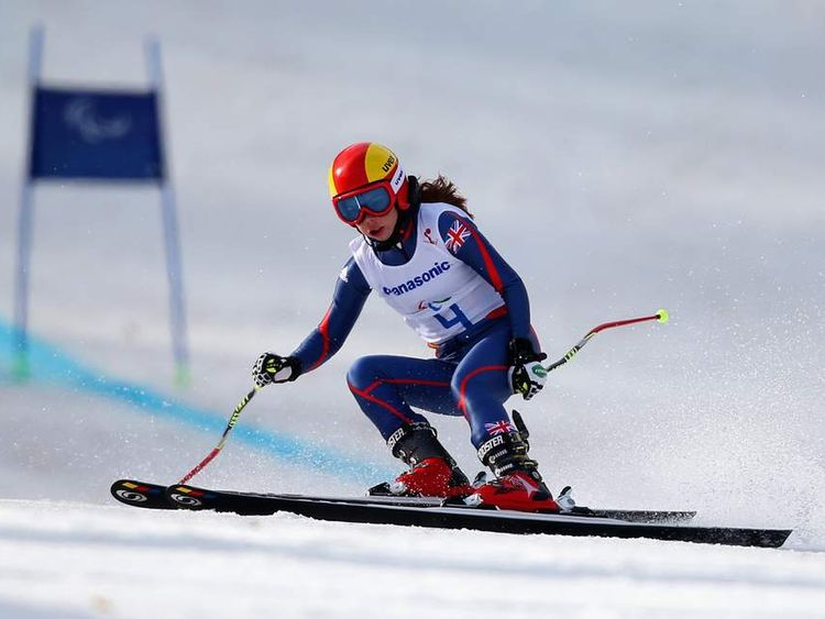 Jade Etherington competes in the women's downhill event at the Winter Paralympics in Sochi.