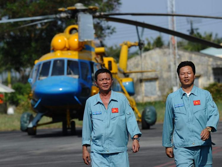 A Vietnamese search and rescue helicopter