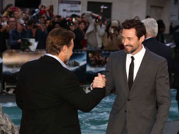 """Russell Crowe and Hugh Jackman attend the UK premiere of """"Noah"""" at Odeon Leicester Square"""