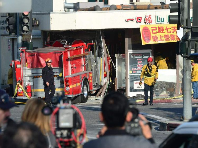 Media at the scene in Monterey Park, California, where two fire engines crashed into each other.