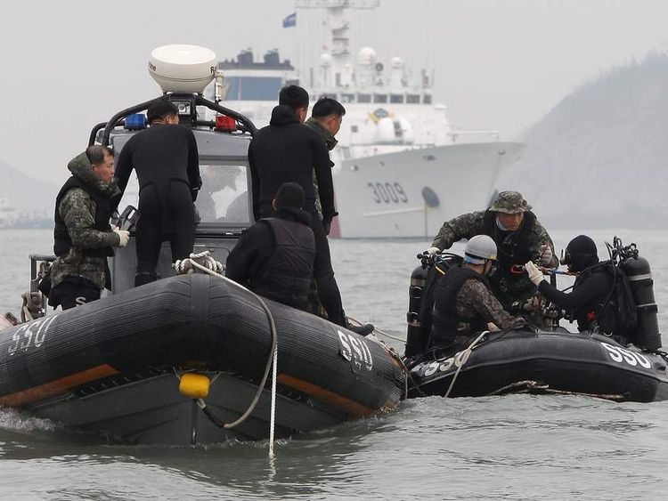 Divers in boat