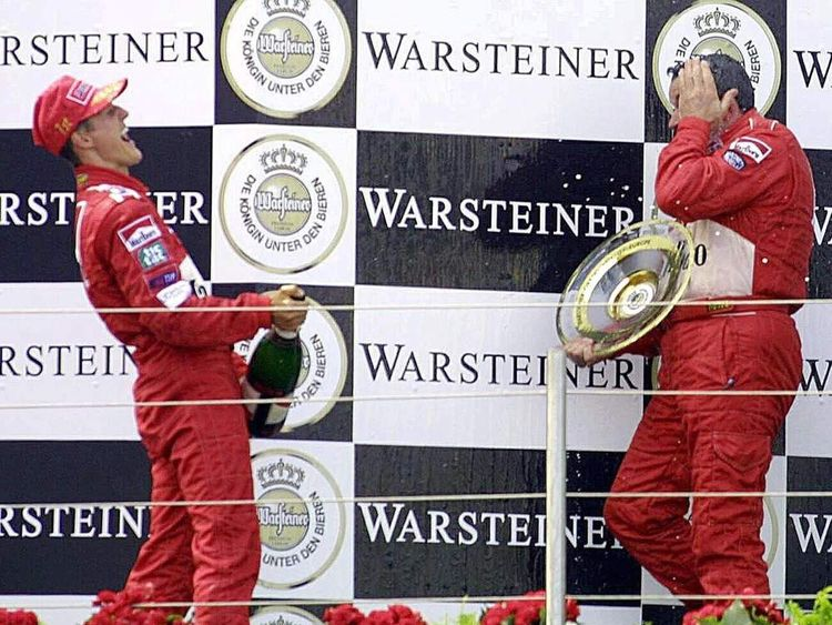 Michael Schumacher and Nigel Stepney while the pair were with Ferrari.