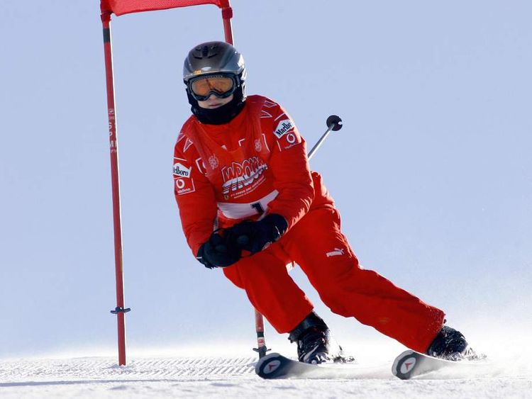 Formula One driver German Michael Schumacher skiing in 2006