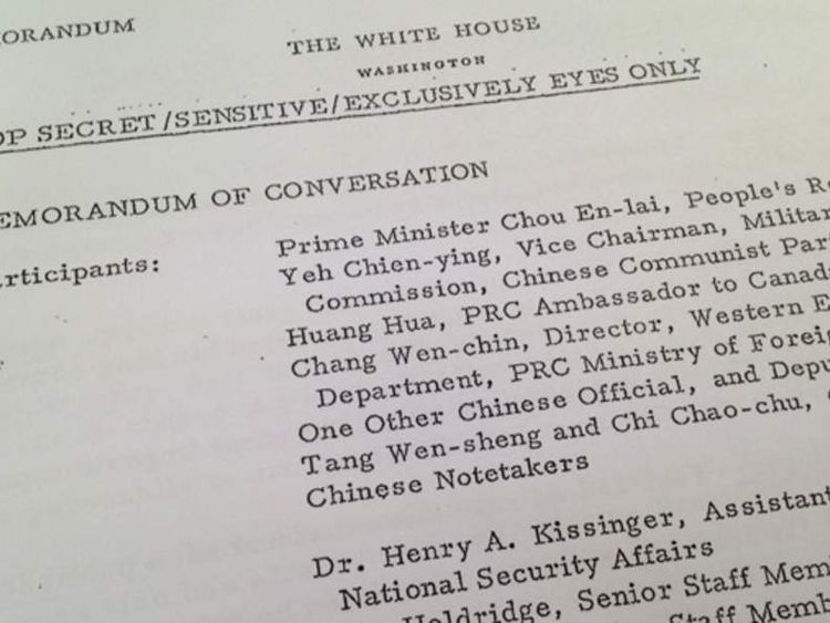 Document of meeting with Henry Kissinger and Chinese Premiere Zhou Enlai in 1971