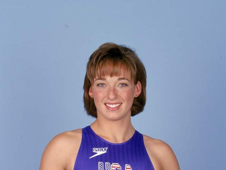 my Van Dyken of the USA poses for a studio portrait with her four Gold Medals during the 1996 Olympic Games
