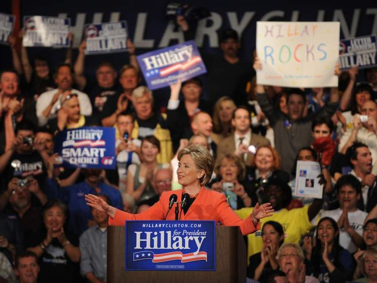 Clinton takes the stage at her primary election night celebration at the Charleston Civic Center in West Virginia on May 13, 2008
