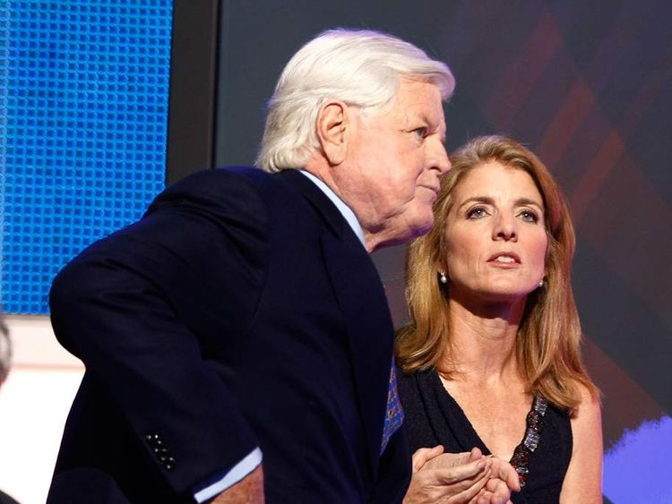 Caroline Kennedy with her uncle, US Senator Edward Kennedy in 2008