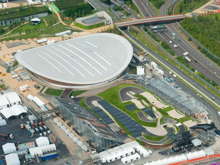 Aerial view of the Olympic Park, in Stratford, east London, showing the Olympic Velodrome (top) and the BMX track.