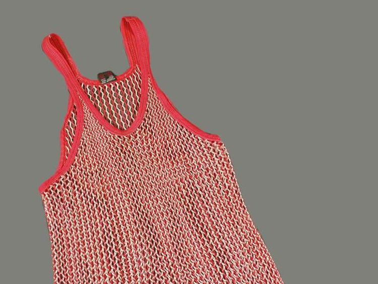 Undated Dreweatts handout photo of a red and white string running vest belonging to Sir Jimmy Savile, which will be sold at auction.